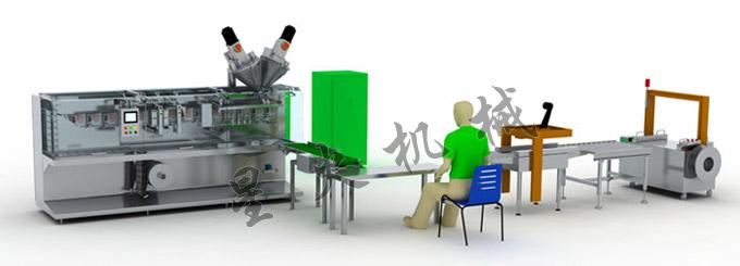 核心配备:DXD-180D型全自动水平式袋装机  DXD-180D型全自动水平式袋装机整机包含电机放膜,袋成形,袋子底封、竖封,伺服牵袋,剪切,开袋充填,袋顶封等机构,通过电机驱动主轴上各凸轮完成各机构的协调动作,并由主轴上编码器反馈位置信号,在PLC的可编程控制下,实现了由膜卷袋成形制袋充填封口成品输送的功能。该机设计合理,外观新颖,采用标准条纹封口,更换填充器可在本机上实现粉剂、颗粒、悬浮剂、乳油、水剂等各种物料的自动充填。整机采用SUS304不锈钢制造,对腐蚀性较强的物料有良好的防腐效果。有